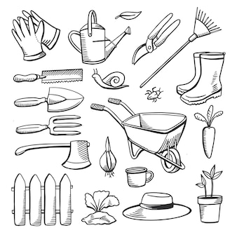 Insieme di scarabocchi del disegno dell'icona della linea di attrezzi da giardinaggio