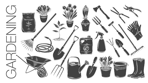 Utensili da giardinaggio e piante o fiori icone bella illustrazione