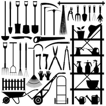 Sagoma di attrezzi da giardinaggio. un ampio set di attrezzi da giardinaggio e attrezzature in silhouette.