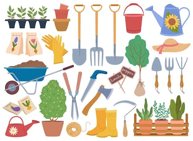 Insieme di vettore degli elementi di orticoltura dell'alberello delle piante e dell'attrezzatura del giardino primaverile degli attrezzi da giardinaggio