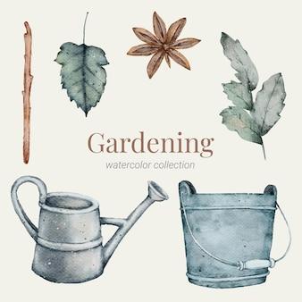 Collezione di elementi dell'acquerello di giardinaggio