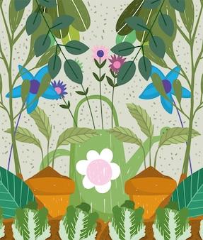 Giardinaggio annaffiatoio piante fiori foglie natura sfondo disegnato a mano illustrazione a colori