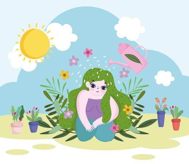 Giardinaggio, annaffiatoio spruzza acqua alla ragazza con i capelli verdi, fiori di piante e illustrazione di fogliame