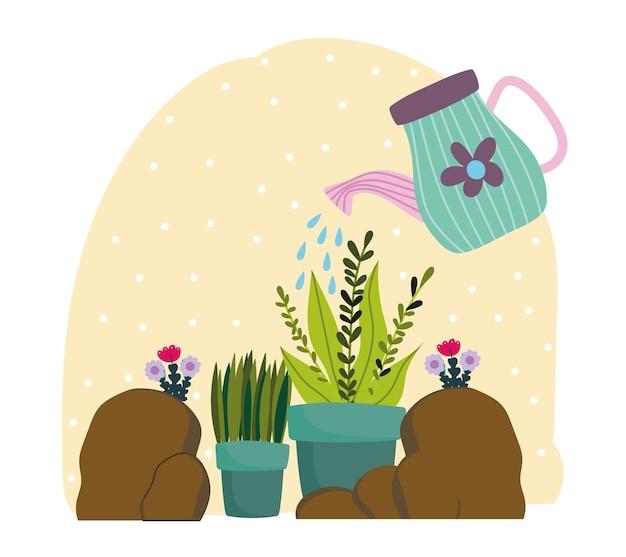 L'annaffiatoio di giardinaggio spruzza l'acqua alle piante nell'illustrazione delle pietre del vaso