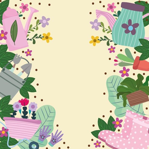 Giardinaggio, annaffiatoio carriola fiori stivali foglie fogliame natura sfondo illustrazione