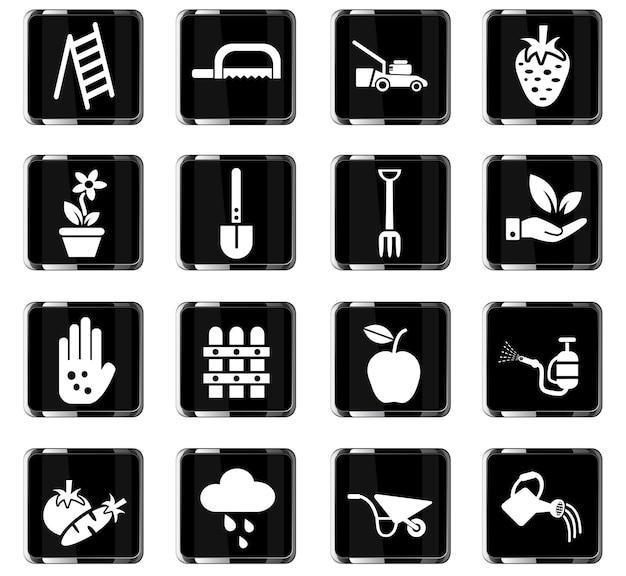 Icone web di giardinaggio per la progettazione dell'interfaccia utente