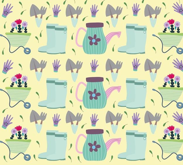 Giardinaggio, carriola con fiori annaffiatoio foglie illustrazione dello sfondo
