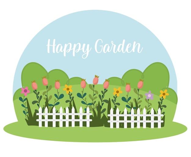 Giardinaggio recinto bianco fiori cespugli di erba, illustrazione giardino felice