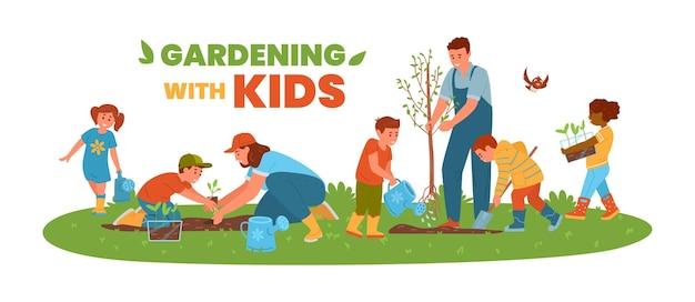 Giardinaggio con bambini banner orizzontale bambini