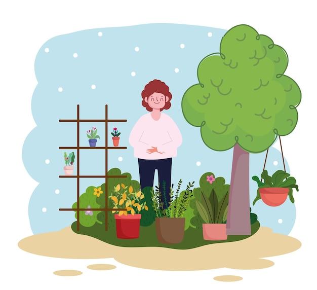 Giardinaggio, donna con piante in vaso e mensola con piante e illustrazione del giardino dell'albero
