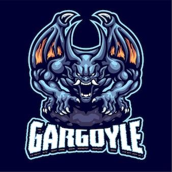 Modello di logo della mascotte di gargoyle