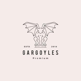 Illustrazione del profilo di vettore di logo del doccione dei gargoyle