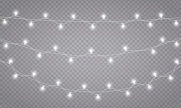 Decorazioni di ghirlande. luci di natale, isolate su uno sfondo trasparente. luci incandescenti per biglietti di auguri natalizi, striscioni, poster, web design. lampada led al neon. illustrazione vettoriale, eps 10.