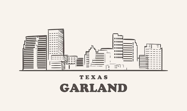 Garland skyline, texas bozzetto
