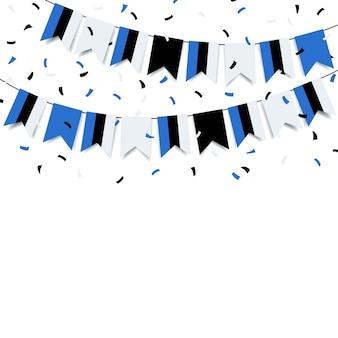 Ghirlanda con la bandiera dell'estonia su uno sfondo bianco.