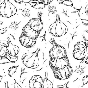 Illustrazione monocromatica del profilo senza cuciture della lampadina dell'aglio