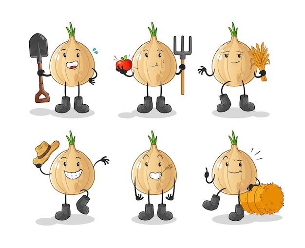 Personaggio del gruppo di coltivatori di aglio. mascotte dei cartoni animati