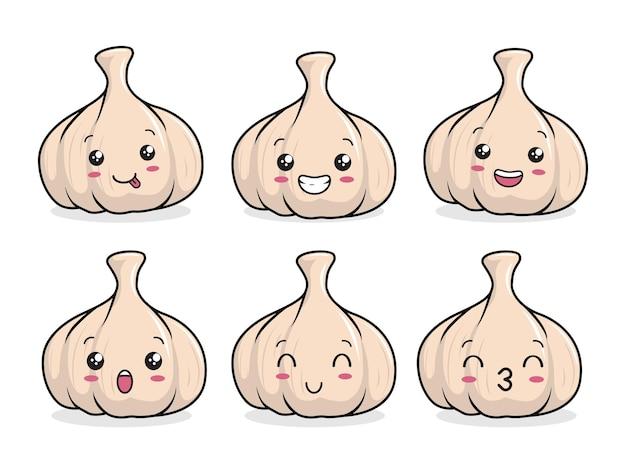 Set cartone animato aglio kawaii