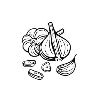 Aglio insieme. illustrazione disegnata a mano di aglio tritato. sfondo isolato. con strati.