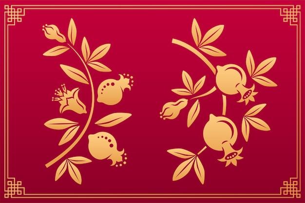 Granato ornamento asiatico con fiori e frutti motivi giapponesi e cinesi in oro di fiori di granato