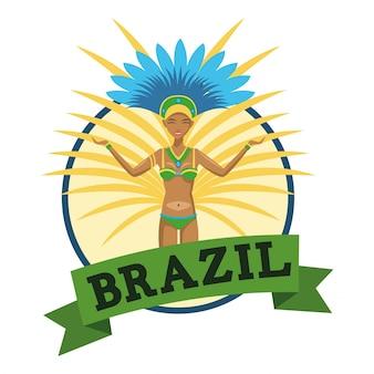 Icona del fumetto di garota. brasile cultura america e tema del turismo