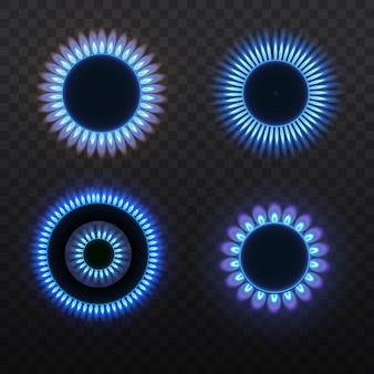 Bruciatori a gas, fiamma blu, vista dall'alto isolato su uno sfondo trasparente. stufa con gas che brucia.