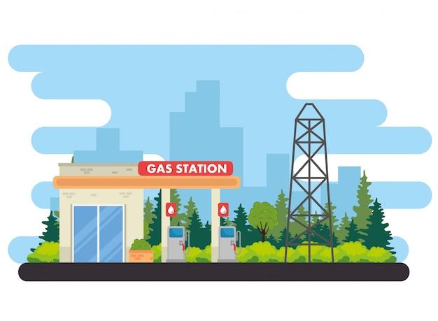 Stazione di servizio del gas, progettazione dell'illustrazione di vettore del gas della stazione di servizio