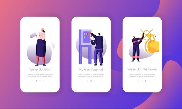 Set di schermate di bordo per la pagina dell'app mobile dell'industria del gas