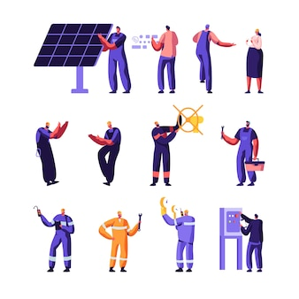 Set di lavoratori del servizio di manutenzione casa intelligente e industria del gas