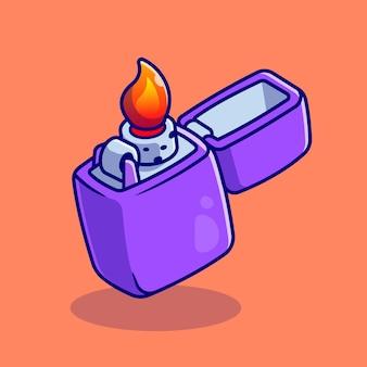 Illustrazione dell'icona di vettore del fumetto dell'accendino a gas. simbolo oggetto icona concetto isolato vettore premium. stile cartone animato piatto