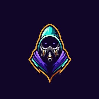 Illustrazione premium di logo della maschera antigas