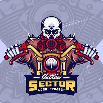 Logo di esport logo design di bikers del cranio della maschera antigas