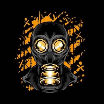 Maschera antigas illustrazione vettoriale. adatto per t-shirt, stampe e abbigliamento