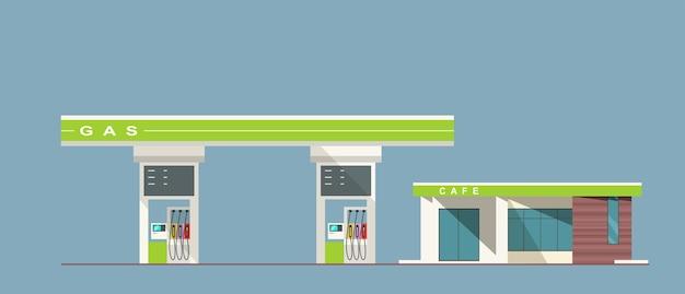 Illustrazione di stile piano della stazione di servizio