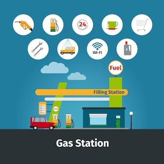 Illustrazione piana delle icone della pompa del carburante e della stazione di servizio