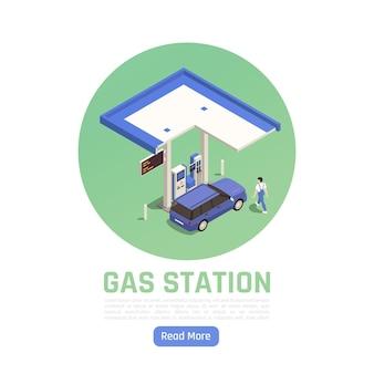 Banner circolare isometrico della stazione di servizio con auto personale alla pompa del carburante