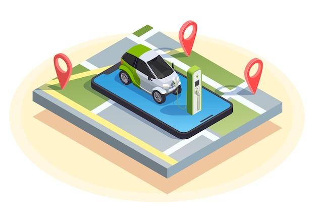 Composizione isometrica della stazione di servizio dell'auto in carica sulla parte superiore dello smartphone con segni di posizione e mappa