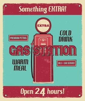 Poster vintage di servizio stazione di servizio con pompa di benzina retrò e testi.