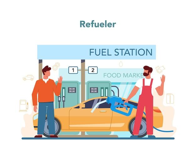 Concetto di lavoratore o rifornitore di carburante della stazione di servizio. operaio in uniforme che lavora con una pistola di riempimento.