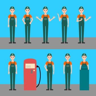 Illustrazione di vettore del lavoratore della stazione di servizio, che lavora alla stazione di rifornimento di benzina, dietro fino in uniforme, pose diverse con varie emozioni, carattere