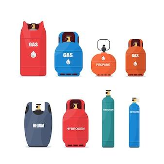 Set di contenitori per bombole di gas illustrazione piatta vettoriale