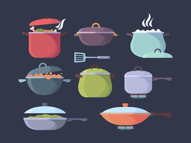 Cucina a gas bollente. preparazione di diversi prodotti per la cottura di pentole e pentole a vapore e vettore di visualizzazione degli odori. illustrazione pentola che cucina zuppa sul fornello, preparazione usare stoviglie