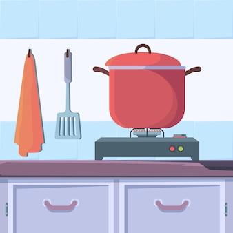 Cucina a gas. interiore della cucina con il concetto di vettore di cucina cucina cibo bollente. cucina domestica, illustrazione di cottura della stufa dell'attrezzatura
