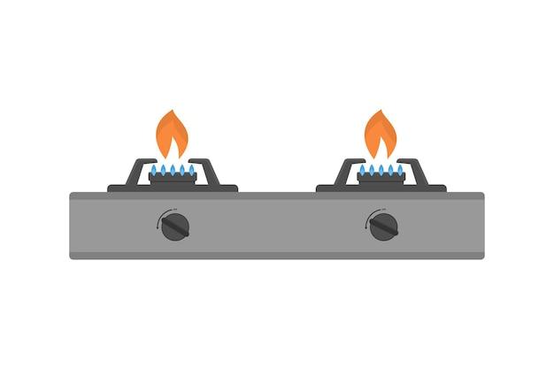Illustrazione vettoriale di stufa a gas su sfondo bianco