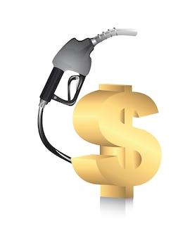 Pompa di benzina con il simbolo di dollaro sopra il vettore bianco del fondo