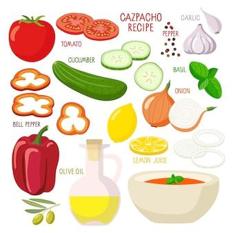 Kit di prodotti gaspacho ciotola prodotti per zuppa di pomodoro concetto di poster del corso culinario