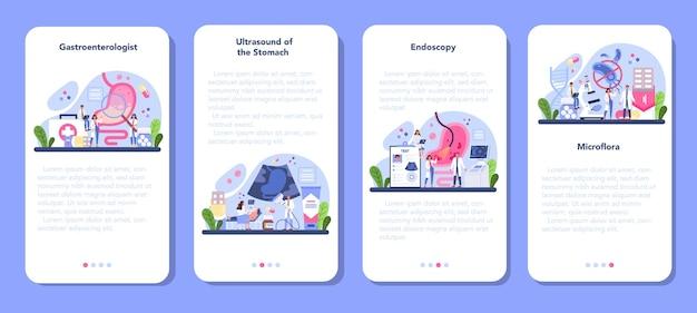 Set di banner per applicazioni mobili medico di gastroenterologia