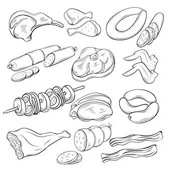 Set di schizzi di prodotti gastronomici a base di carne.