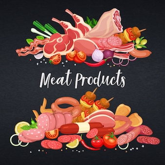 Prodotti a base di carne gastronomici con modello di banner di verdure e spezie per la produzione di carne alimentare, brochure, banner, menu e design del mercato. illustrazione.
