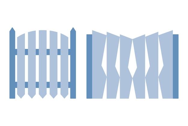 Recinzione del cancello in legno. illustrazione della barriera decorativa. elemento di architettura protettiva per esterni